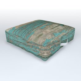 Weathered Rustic Wood - Weathered Wooden Plank - Beautiful knotty wood weathered turquoise paint Outdoor Floor Cushion