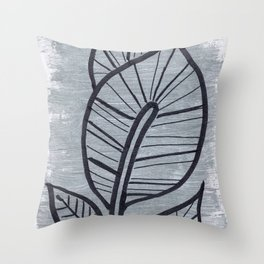 Black Leaves on Silvery Grey Throw Pillow