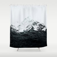 mountains Shower Curtains featuring Those waves were like mountains by Robert Farkas