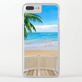 Balcony with a Beach Ocean View Clear iPhone Case
