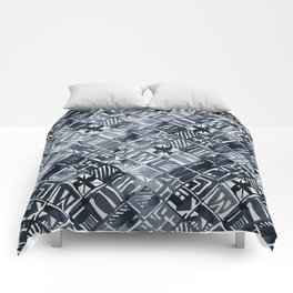 Simply Tribal Tiles in Indigo Blue on Lunar Gray Comforters