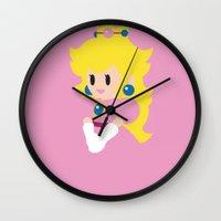 princess peach Wall Clocks featuring Princess Peach - Minimalist  by Adrian Mentus