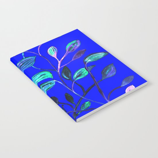 Blue Night's Red and Green Leaves! Notebook
