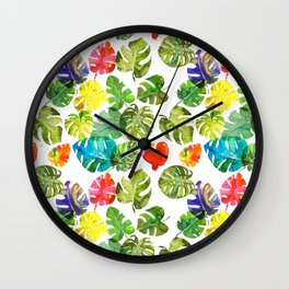 Watercolor monstera leaves illustration Wall Clock
