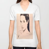 angelina jolie V-neck T-shirts featuring angelina jolie by Justinhotshotz