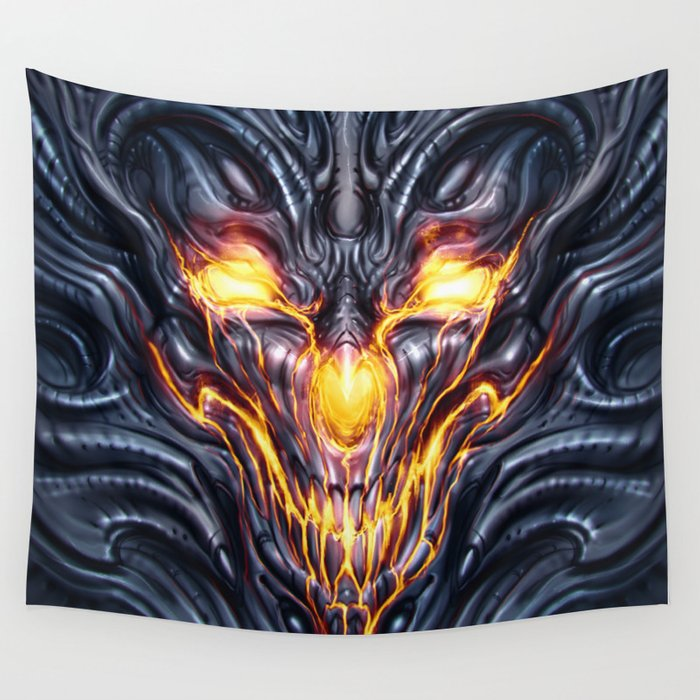Biomechanical Demon Wall Tapestry by noistromo | Society6