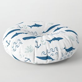 nautical whales sharks and anchors in navy grey white kids nursery boys girls decor Floor Pillow