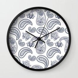 Blue Paisley Pattern Wall Clock