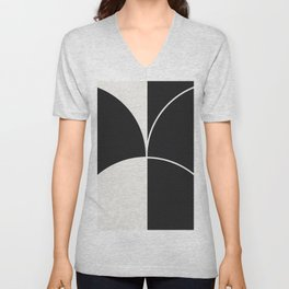 Diamond Series Round Solid Lines White on Charcoal Unisex V-Neck