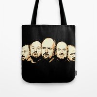 louis ck Tote Bags featuring The Faces of Louis CK by LVP _