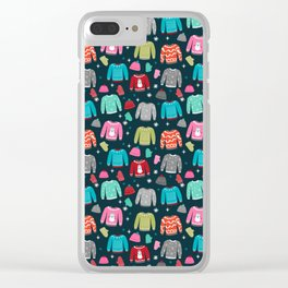 Winter Sweater weather festive holiday snowflakes snow day fun sledding Clear iPhone Case