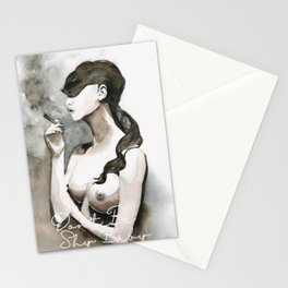 Watercolor Painting By Mahsawatercolor - Don't Be Shy Stationery Cards
