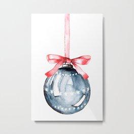 Christmas glass ball, watercolor hand painting. Metal Print