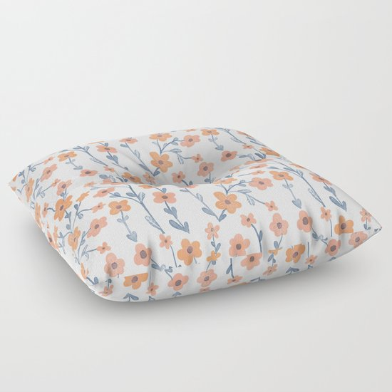 Orange Blue Foral Pattern Floor Pillow by Chotnelle Society6