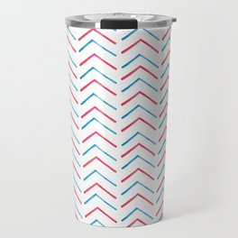 Simple red blue hand painted watercolor chevron geometrical Travel Mug