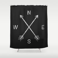 simple Shower Curtains featuring Compass by Zach Terrell