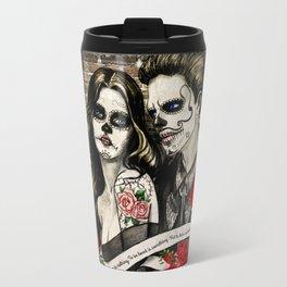 Sugar Skull Couple Metal Travel Mug