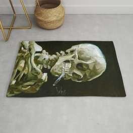 Vincent van Gogh - Head of a skeleton with a burning cigarette - Original white Rug