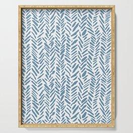 Sky blue and White Herringbone Pattern Serving Tray
