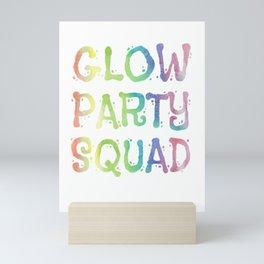 Glow Party Squad Paint Splatter Effect Neon Funny Gift Mini Art Print