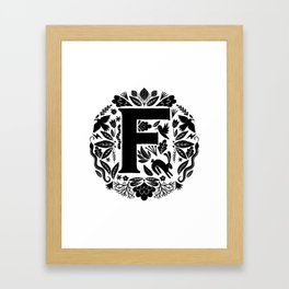 Letter F monogram wildwood Framed Art Print