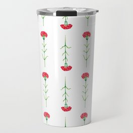 Carnations flowers watercolor art Travel Mug