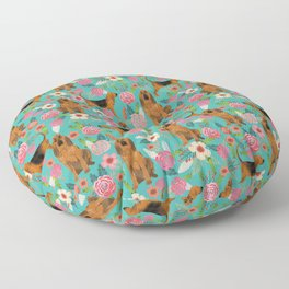 Bloodhound floral dog breed dog pattern pet friendly pet portraits custom dog gifts mint Floor Pillow