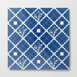 Nautical blue geometric pattern and floral Metal Print