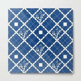 Nautical blue geometric pattern and floral Metal Print