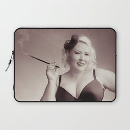 """""""Of Corset Darling"""" - The Playful Pinup - Vintage Corset Pinup Photo by Maxwell H. Johnson Laptop Sleeve"""