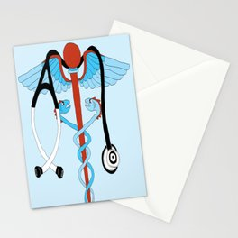 medical caduceus and stethoscope Stationery Cards
