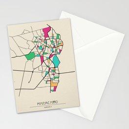 Colorful City Maps: Maracaibo, Venezuela Stationery Cards