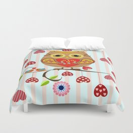 Valentine's day owl with hearts Duvet Cover