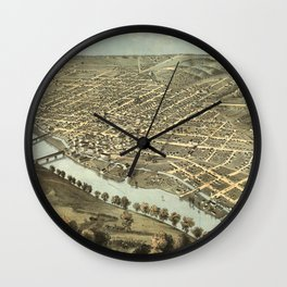 Vintage Pictorial Map of Lafayette Indiana (1868) Wall Clock
