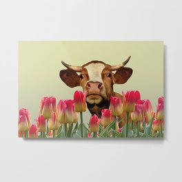 Tulip Flowers with brown cow Metal Print