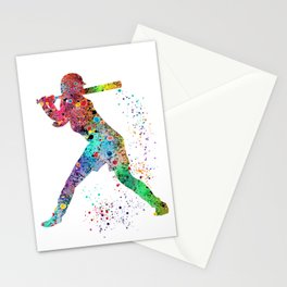 Baseball Softball Player Sports Art Print Watercolor Print Girl's softball Stationery Cards