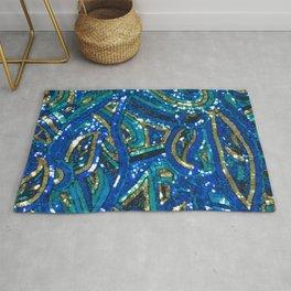 Teal Blue Gold Art Deco Sequin Rug