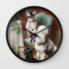 Christmas Dogs Wall Clock