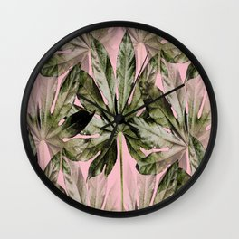 Large green leaves on a pink background - beautiful colors #society6 Wall Clock