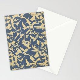 Vintage Flying Birds in Blue Stationery Cards
