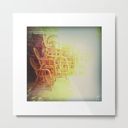 Old chairs stacked and light Metal Print