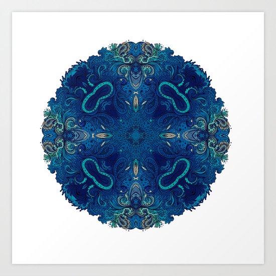 Blue Cobalt Indian Mandala Art Print