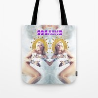 cocaine Tote Bags featuring MILEY CYRUS COCAINE WHITE by whateverlulu