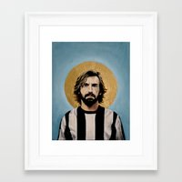 juventus Framed Art Prints featuring Andrea Pir_lo - Football Icon by David Diehl Football Art