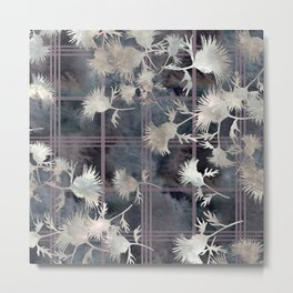 Thistle Flower Felted Plaid Pattern Metal Print