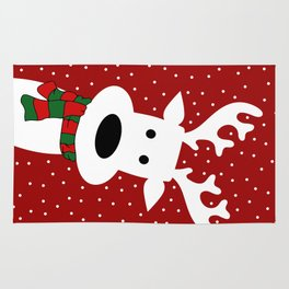 Reindeer in a snowy day (red) Rug