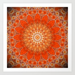 Detailed Orange Boho Mandala Art Print