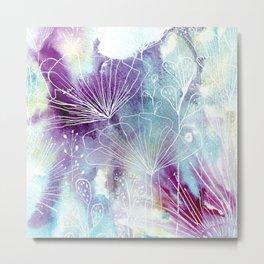 Purple & Blue Watercolour Flowers Metal Print