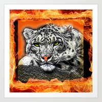 snow leopard Art Prints featuring Snow Leopard by SwanniePhotoArt