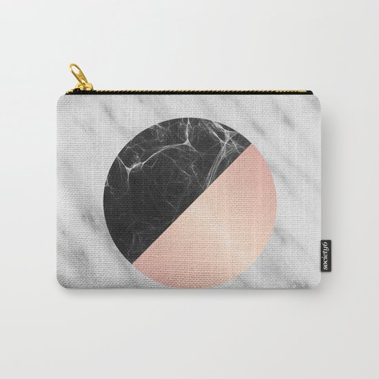 Carrara Italian Marble Black and Pink Carry-All Pouch